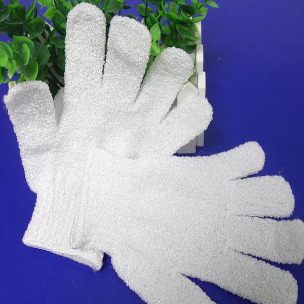White Nylon Body Cleaning Shower Gloves Exfoliating Bath Glove Five Fingers Bath Bathroom Gloves Home Supplies