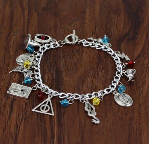 pulseira de filme mulheres combinação pingente charme pulseira letra do vintage asa relíquias da morte chapéu relâmpago coroa cobra copo pulseiras pulseiras nt
