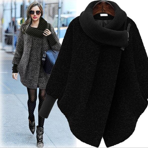 Chegada nova das Mulheres de Lã Misturas de Casacos das Mulheres Americanas Europeu outono inverno casaco solto longo cardigan casaco de pelúcia Misturas De Lã das Mulheres