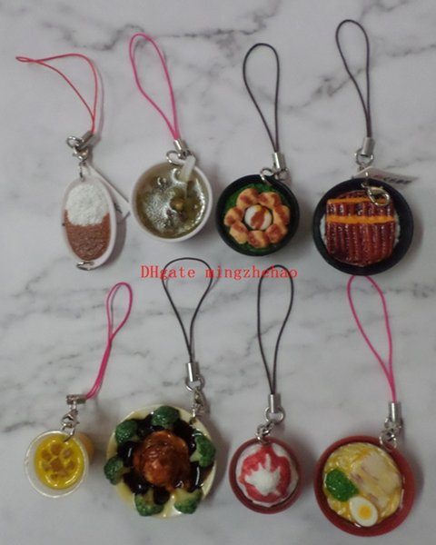 8 PCS/Set JETTING Mini Cell Phone Strap Simulation Food Charms noodle Keychain Pendant Chinese porcelain Food Bowl Kids Fun Toy