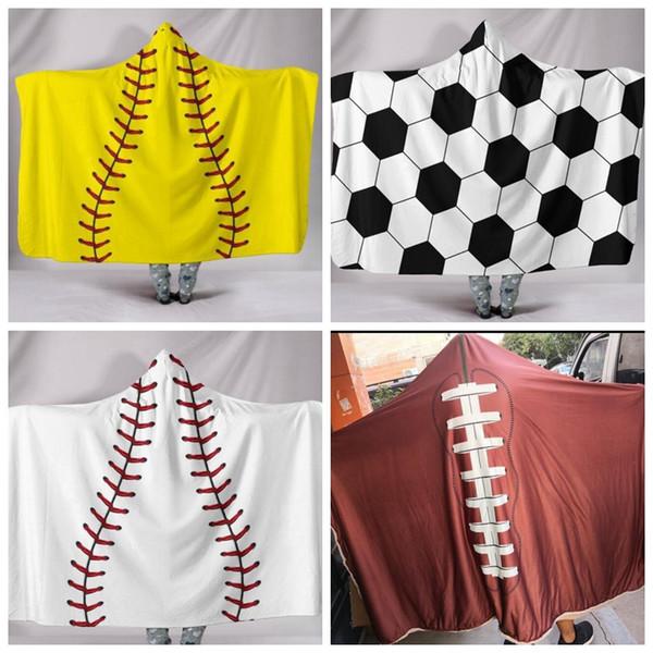 best selling 200*150cm Baseball Football Sherpa Towel Softball Blanket Sports Theme Hooded Cape Soccer Bathing Towel Swadding Blankets GGA780 6PCS