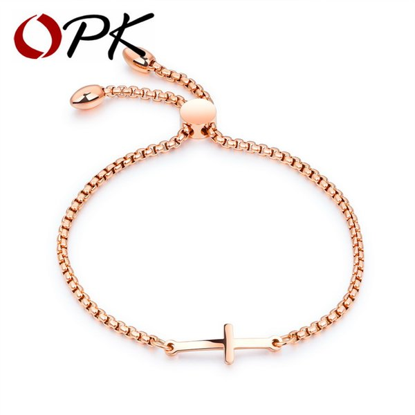 OPK Charming Cross Bracelet For Women Rose Gold / Gold /White Color Length Adjustable Female Ladies Friendship Bracelet GS893