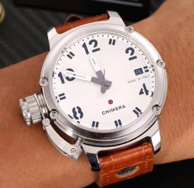 Brand new automatic U watch, U-51 chimera silver aging brown leather automatic calendar leather ship watches wristwatches