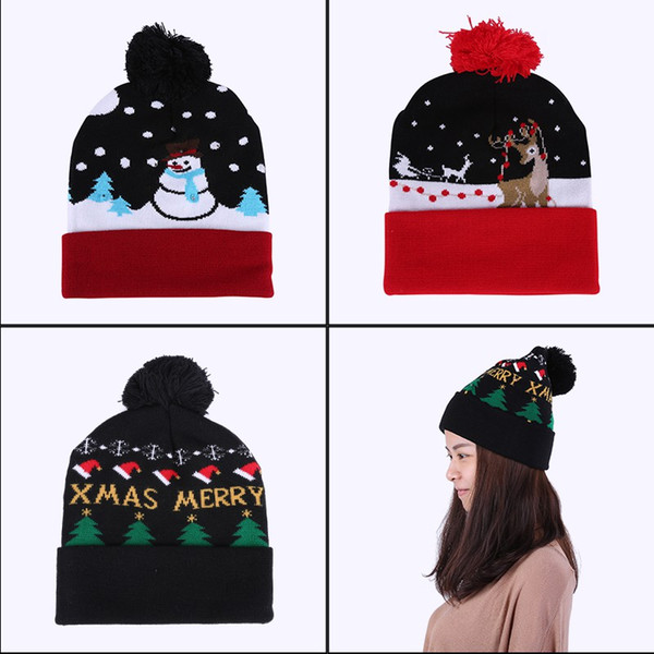 Compre Led Gorro De Navidad Crochet Gorro De Algodón Casual Gorro De ...