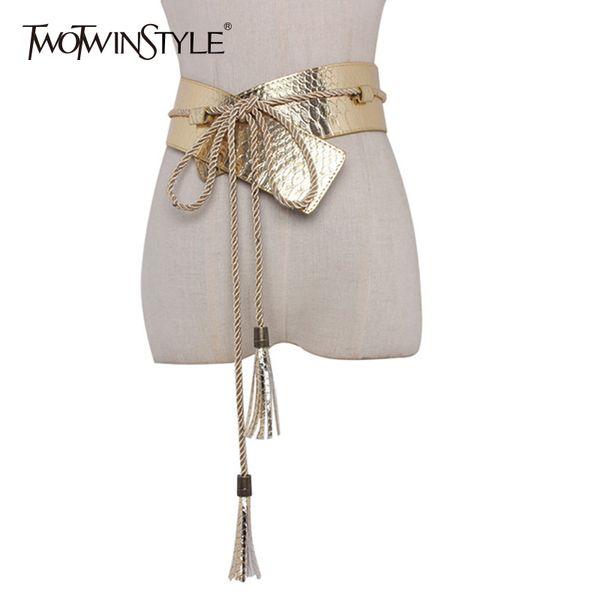 TWOTWINSTYLE PU Leather Wide Belt For Women Snakeskin Tassel Lace Up Female Belts 2018 Spring Cummerbund Fashion New S18101806