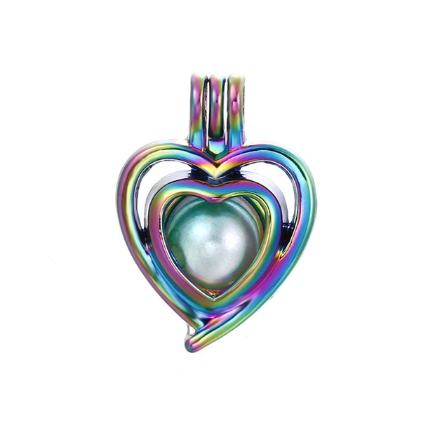 10pcs Rainbow Color Heart Pearl Cage Beads Cage Essential Oil Diffuser Locket Charms Pendant DIY Jewelry Making for Oyster Pearl