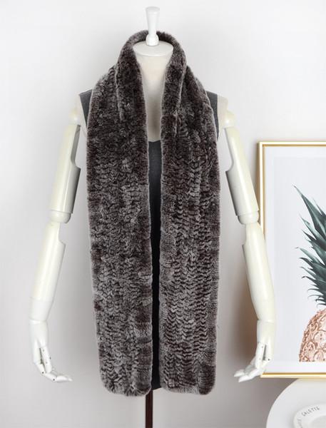 8546123 Fashion Rex rabbit Fur knitting Scarf lady thickening Warm super long Rabbit Fur Scarf neck Extension Natural Shawl