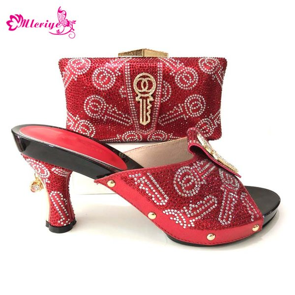 Fashion Italian Shoes And Matching Bag With Rhinestone RED African Wedding Shoes And Bag Set For Party
