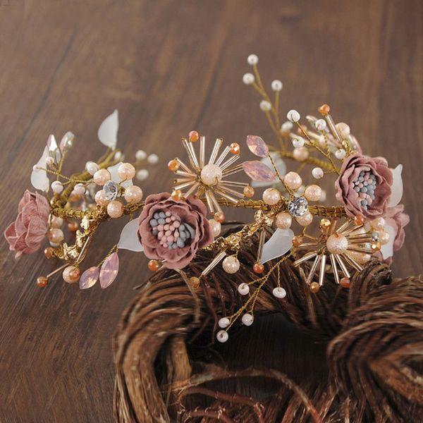 Fabulous Daisy Flowers Tiaras Rhinestone Pearls Pageant Wedding Crowns Headbands Headpiece For Women Jewelry Hair Accessories