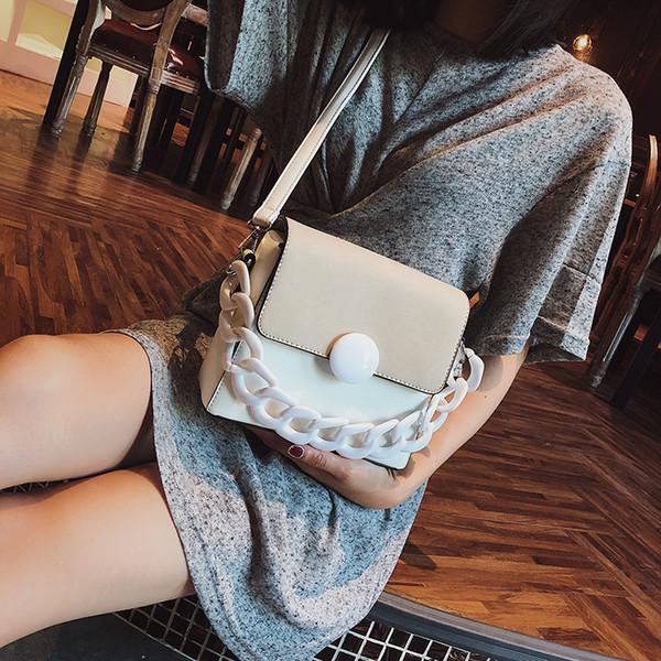 2019 Fashion Women Scrub High Quality Leather Design Crossbody Bag With Thick Chain Stripe Wide Strap Shoulder Bag Small Square Bag Handbag