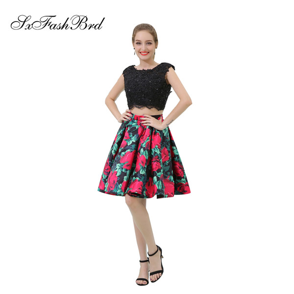 Elegant Girls Dress O Neck With Appliques Open Back Crop Top Short Print Satin Party Formal Evening Dresses for Women Prom Dress Gowns