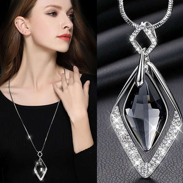 2018 Long Pendants Necklaces for Women necklace Collier Femme Geometric Statement Colar Maxi Fashion Crystal Jewelry