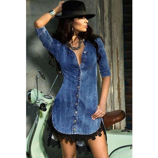 Kadın elbise Avrupa ve Amerikan Sokak Mavi V Yaka Kollu Dantel Trim Düzensiz Etek Denim Kumaş Elbise
