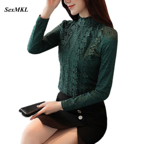 SEXMKL Blusa Feminina Кружевной топ женский 2018 года Женская корейская элегантная зеленая блузка с длинным рукавом женская рубашка Blusa Mujer