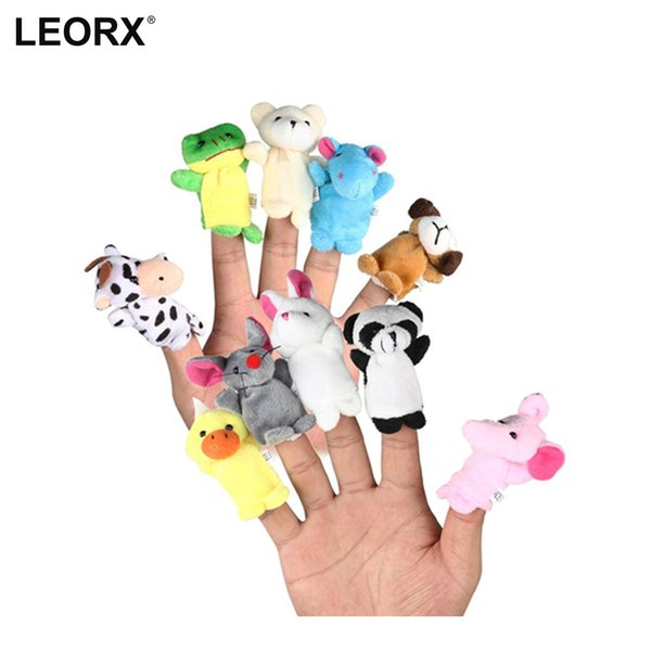 top popular 10pcs Cute Family Finger Puppets Cloth Doll Baby Educational Hand Puppet Mini Fantoche Animal Plush Toy Sets 2021