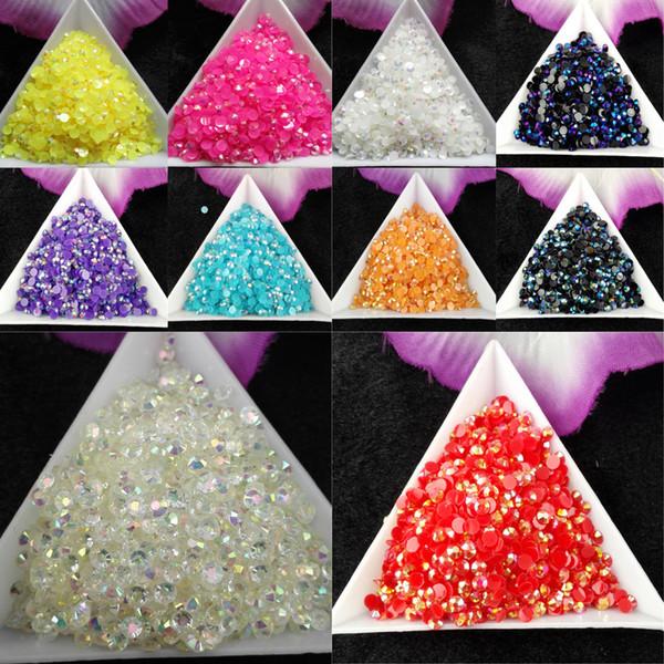 best selling 10000pcs bag SS12 3mm 10 Color Jelly AB Resin Crystal Rhinestones FlatBack Super Glitter Nail Art Strass Wedding Decoration Beads Non HotFix