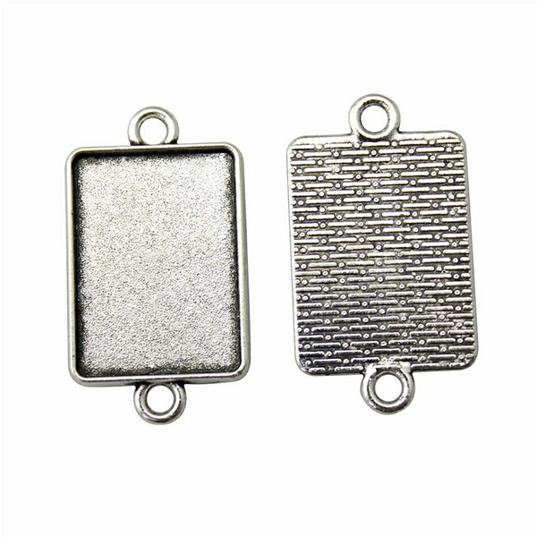 16 Pieces Cabochon Cameo Base Tray Bezel Blank Jewelry Materials Classic Connector Inner Size 18x25mm Rectangle Necklace Pendant Setting