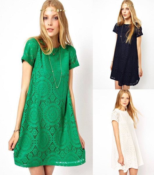 Fashion Women Summer Lace Dress Casual Panelled Puls Size Loose Short-sleeved Hollow Dress Slim Elegant Ladies Women Clothing OUC3084