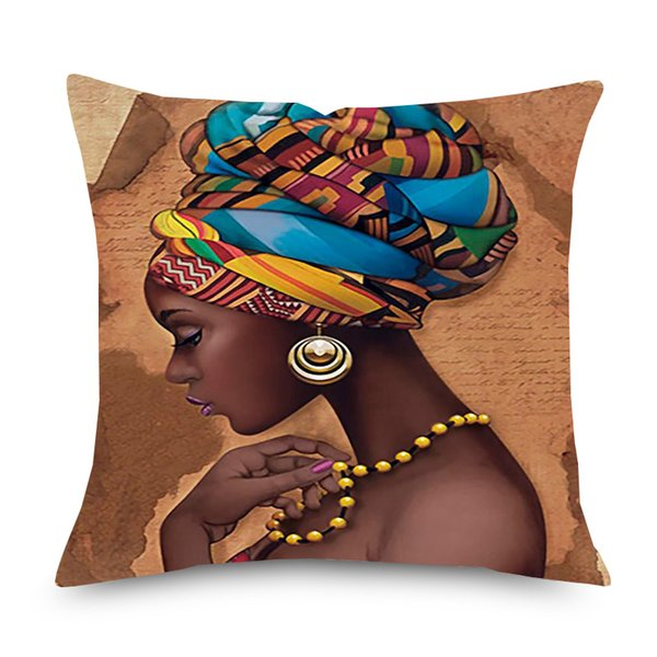 African Woman Culture Art Cushion Covers Watercolor Painting Dancing Africa Lady People Linen Pillow Case Sofa Chair Decor
