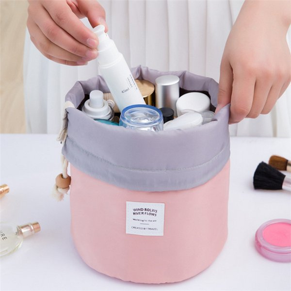 Travel Makeup Drawstring Pouch Bucket Barrel Shaped Cosmetic Case Bag Organizer Storage Bags Elegant Drum Wash Bags 6 Colors