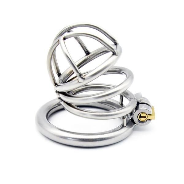 Latest Medium Size Male Stainless Steel Cock Penis Cage Ring Chastity Belt Art Device BDSM Sex toys