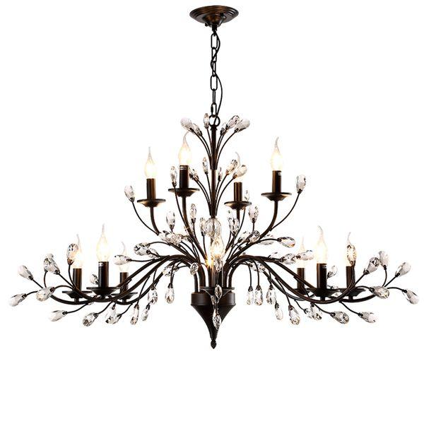 Modern Luxury Design E14 K9 Crystal Black Iron Led Chandelier Lighting Fixtures for Hotel Loft Dining Room Bar Bedroom Home Lamp
