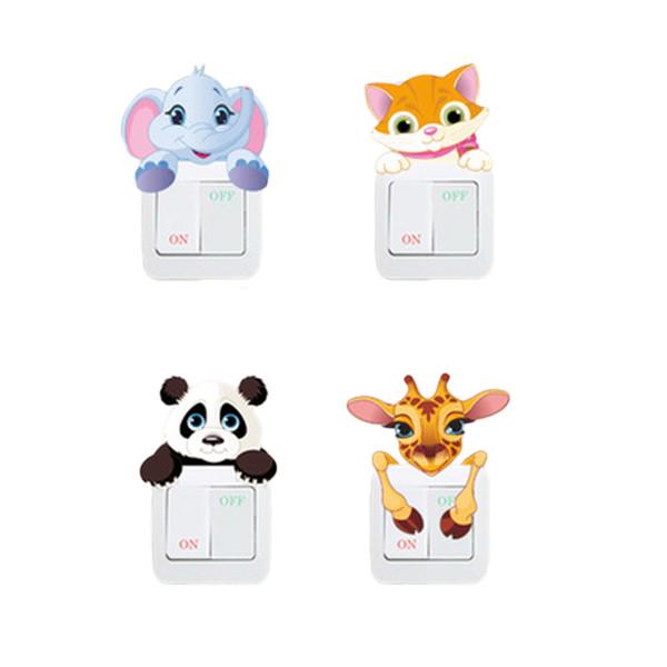 Elephant Cat Panda Giraffe Light Switch Sticker Remoable Wall Sticker For Kids Baby Nursery Home Decal Murla Decor Cute Animals