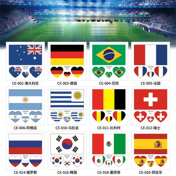 2018 Russia world cup tattoo sticker Temporary National flag Football Game Body Face Hand Tattoo stickers For Men and Women 60*80mm new