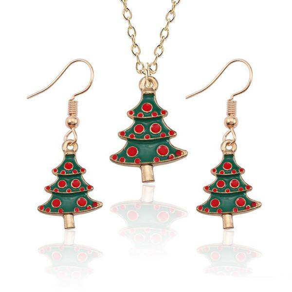 Fashion Christmas Tree Jewelry Sets Gold Rhinestone Enamel Xmas Tree Necklace Earrings Jewellry Set For Women Christmas Gifts