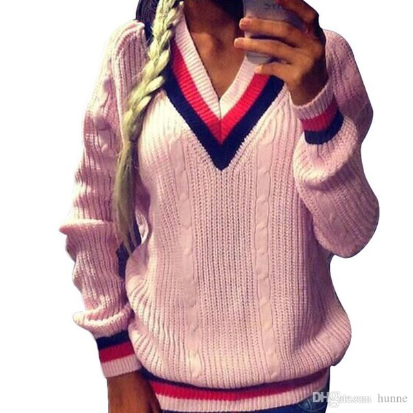 ac2808cb84 Wholesale-2016 New Spring Women Girls Fashion Cable- Knit Sweater Long  Sleeve V-