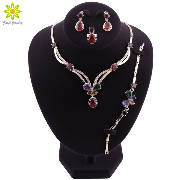 Fashion Big Nigerian Wedding African Beads Jewelry Sets Crystal Dubai Gold Plated Jewelry Sets For Women Costume Design
