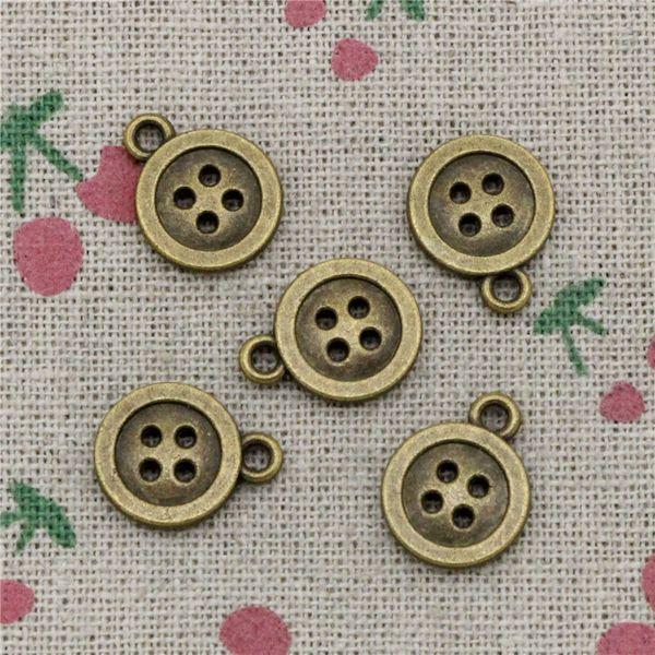 114pcs Charms double sided button 13mm Antique Bronze Vintage Pendants For Jewelry Making DIY Bracelet Necklace