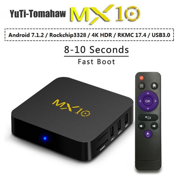 BM MX10 Smart TV Box Android 8.1 RK3328 Quad Core 64bit DDR3 4GB 32GB 4K HD Wifi 100M LAN USB3.0 Set-top Box media player