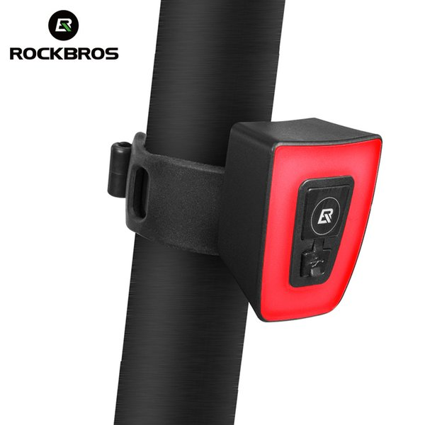 ROCKBROS Bicycle Rear light USB Rechargeable MTB Bike Taillight Waterproof Safety Warning Cycling Helmet Light for Night Riding