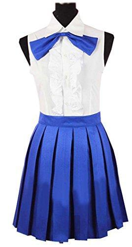 Cosplay Fairy Tail Erza Scarlet Daily White Blue Dress costume