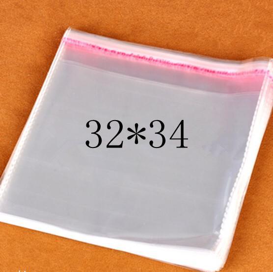 Temizle Açılıp Kapanabilir Selofan / BOPP / Poli Çanta 32 * 34 cm Şeffaf Opp kozmetik Çanta Ambalaj Plastik Torbalar Kendinden Yapışkanlı Mühür 32 * 34 cm