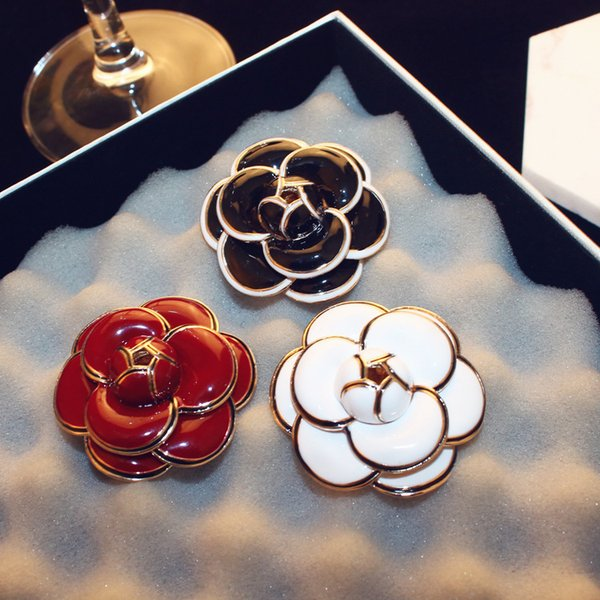 Agood high quality white red black camellia flower brooch for women scarf pins wedding party jewelry accessories