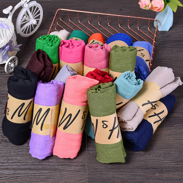 40 color Muslim Hijab Muffler Solid Lady Scarf Sun protection Cotton And Linen Candy Color Scarves Shawl Stole Spring summer fashion