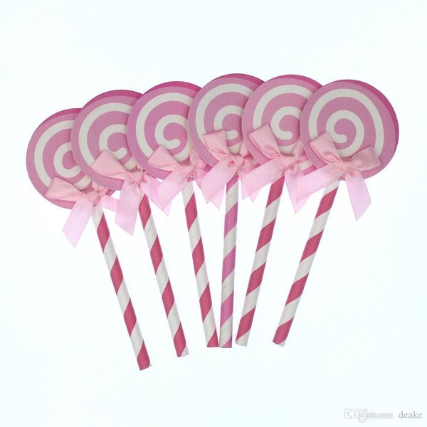 Wholesale- Cute Lollipop Party cupcake toppers picks decoration for Kids Birthday party Cake favors Decoration supplies
