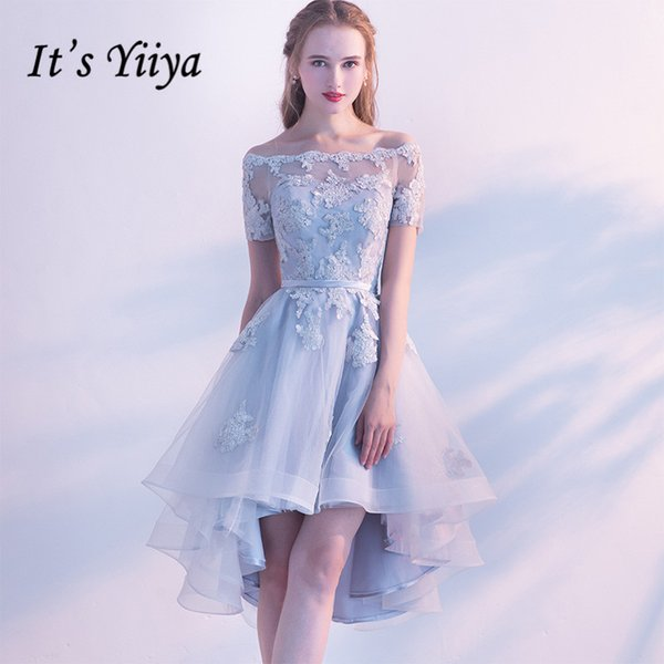 It's YiiYa Gray Boat Neck Short Sleeve Off The Shoulder Appliques Lace Prom Dresses High And Low Tea Length Formal Dress LX454 C18111601