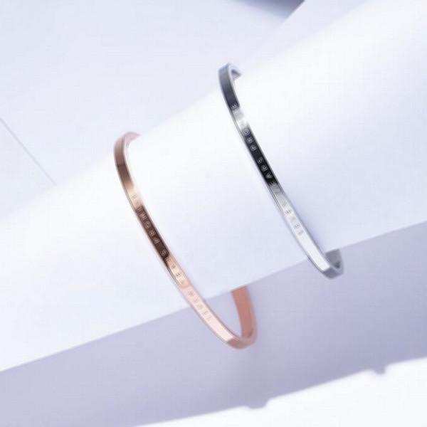Asla Fade Severler 316L Paslanmaz Çelik Moda Marka DW Manşet Bilezik Bilezik C Şekli Açık Bileklik