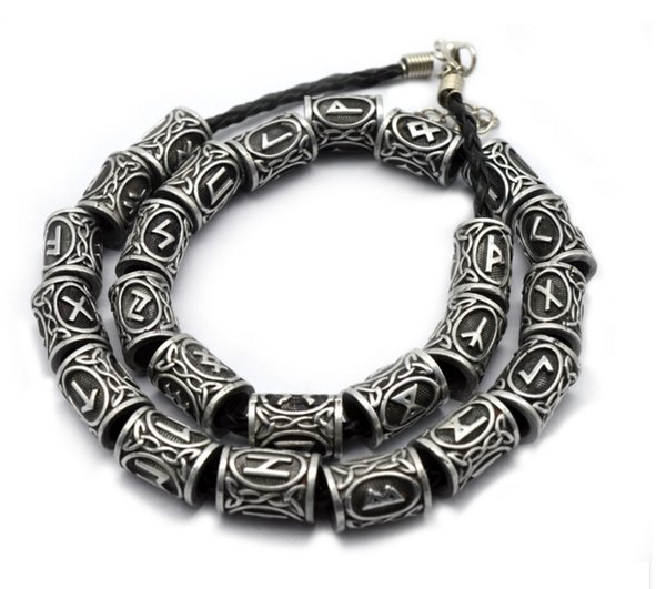 Wholesale- 24pcs Top Silver Norse Viking Runes Charms Beads Findings for Bracelets for Pendant Necklace for Beard or Hair Vikings Rune Kits