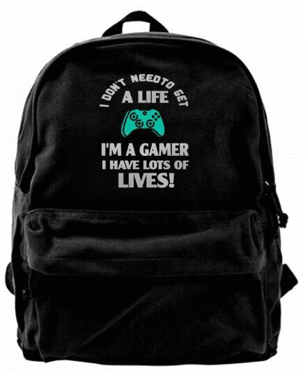 No necesito una vida Soy un Gamer Moda Lienzo La mejor mochila Mochila de Camper única para hombres Mujeres Adolescentes Mochila para viaje