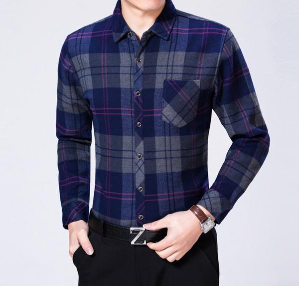 Winter Man Plaid Shirt Thicken Fleece Tops Men Long Sleeve Blouse Cotton Blend Top Mens Slim Fit Business Casual Warm Camisa Man