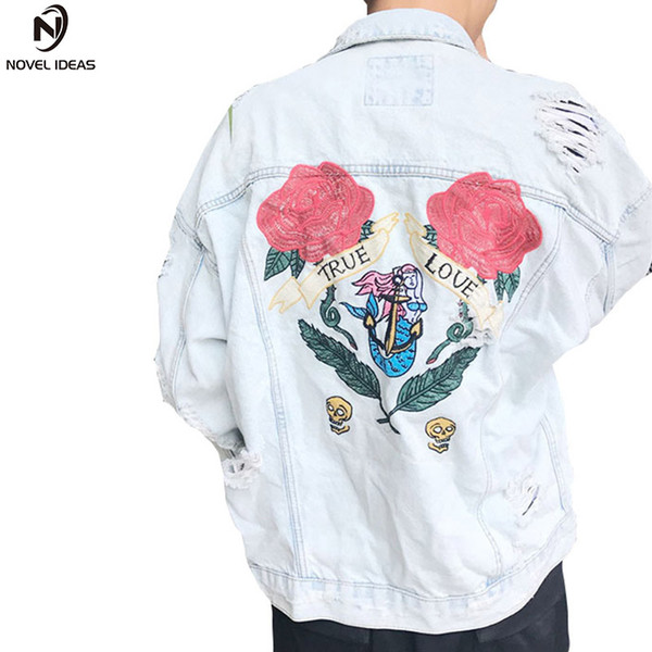 Jeans Jacket Washing Frayed Rose Embroidery Letter Patch Bomber Jacket Ripped Distressed Hole Denim Loose Fit Casual Styl