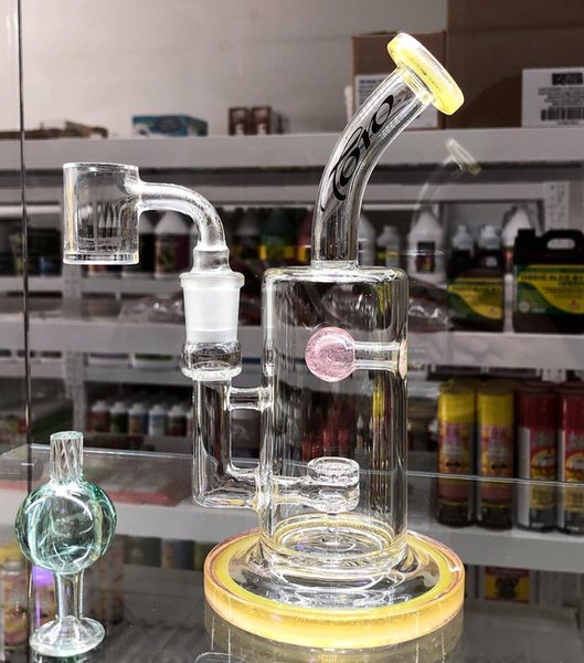 Toro Yellow Colored Glass BOngs Glass Water Pipes Wax Smoking Pipes Hookahs 2 Function Bubbler Heady Chamber 14 mm Joint Cheap