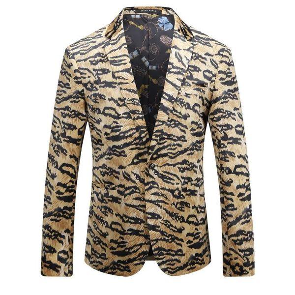 2017 White Leopard Print Blazers Mens Gold Black Tiger Blazers Masculino Slim Fit Trendy Social Club Outfits Fashion Stage Wear