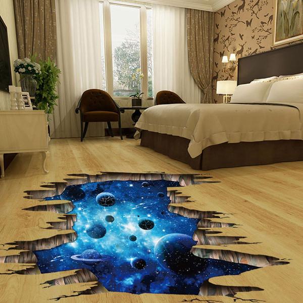 (1pc wholesale)3d cosmic space galaxy children wall stickers for kids rooms nursery baby bedroom home decoration decals fooor murals