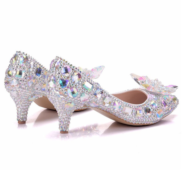 New Beautiful AB Rhinestone Women Pumps Pointed Toe Bowtie Crystal Silver Wedding Shoes Handmade Lady Heels Plus Size