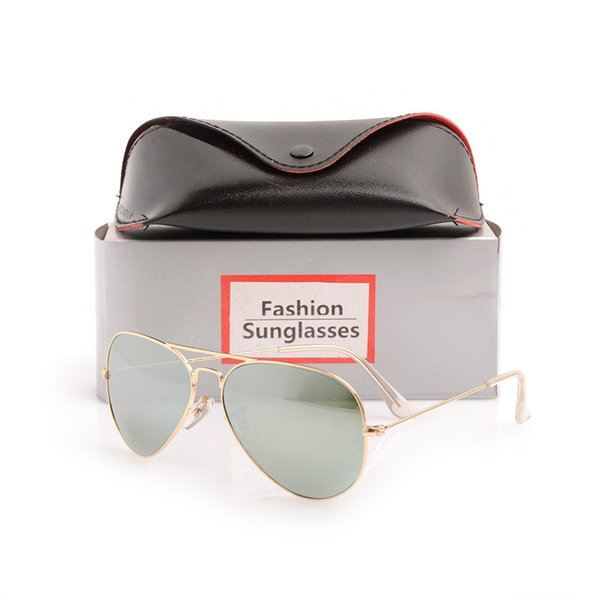 High Quality Classic Pilot Sunglasses Designer Brand Mens Womens Sun Glasses Eyewear Gold Metal Green 58mm Glass Lenses with Original cases